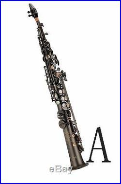 100% New Professional Bb Antique Matt Black Soprano Saxophone With Case