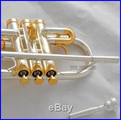 15% Sale Professional Silver/Gold Plated Eb/D Trumpet horn Monel Valve With Case