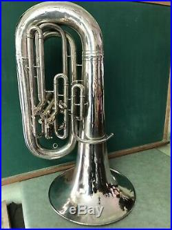 1921 C. G. Conn Silver Plated Tuba & Wooden Case