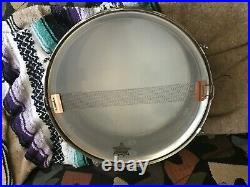 1939 1930's 30's VINTAGE 14 x 5 LUDWIG NOB NICKLE OVER BRASS SNARE DRUM W CASE