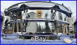1960-63 Vintage Super Ludwig 400 14 X 5 Snare Drum Chrome over Brass 10L COB