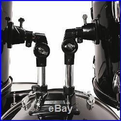 5 Piece Complete Adult Drum Set Cymbals Full Size Kit with Stool & Sticks Black