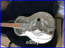 Aiersi Brand Gloss Chrome Plated Brass Electric Tricone Resonator Guitar A49EBC