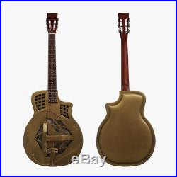 Aiersi Vintage Golden Distressed Cutway Bell Brass Tricone Resonator Guitar