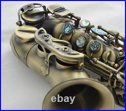 Antique Brass Curved Soprano Saxophone Bb Sax High F# Ablone shell Key with Case