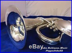BUESCHER DOUBLE BELL Euphonium Baritone horn RESTORED Orig silver finish 1929
