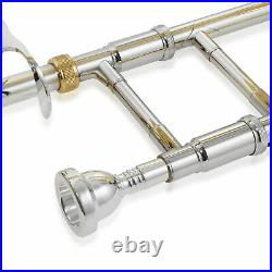 Bb Tenor Trombone with F Trigger, Gold Lacquer Finish, Brass Band Instrument, Case