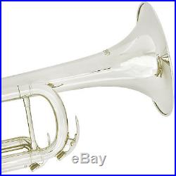 Bb Trumpet Silver Nickel Plated withTuner Case & Care Kit Student Beginner Band