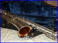 Buescher True Tone Bari/Baritone Saxophone #196XXX, Silver Plated, Plays Great