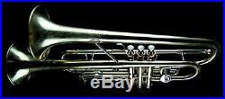 Double Trumpet Bell Buescher 244 Getzen 1st & Mendez 3rd Triggers Plus XL Case