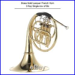 French Horn B/Bb Flat 3 Key Brass Golden for Musical Experts with Case Care Kit