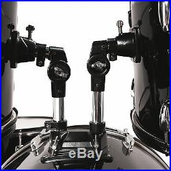 Full Size Complete Adult 5 Pieces Drum Set with Cymbals, Stool & Sticks Black
