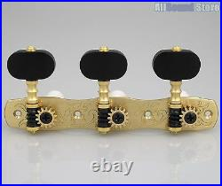 Gotoh 35G1800-EN Classical Guitar Tuners Machines SOLID BRASS with Ebony Buttons