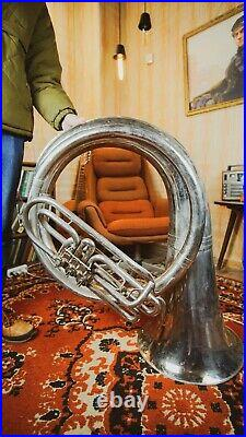 Helicon Vintage Original USSR Soviet Brass Musical Wind Instrument Tuba Pipe