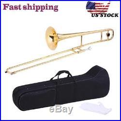 Hot Gold Alto Student Bb Tone B flat Trombone School Band with Case Care Kit