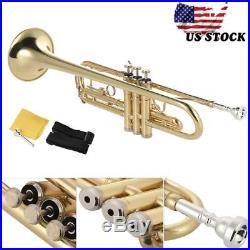 Hot Trumpet Bb B Flat Golden Gift for Students Beginner+Free Care Kit Strap Case