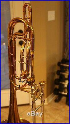 King Duo Gravis Bass Trombone, Excellent shape. Split triggers. Bb/F/D