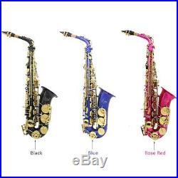 LADE Brass Engraved Alto Saxophone Sax Eb E-Flat Professional Black O9G8