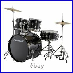 Ludwig LC17511 Accent Drive Complete 5-Piece Drum Set, Black