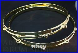 Ludwig NEW Brass Plated Die Cast Snare Hoops 14 PAIR 10 Hole/Lug FREE SHIPPING