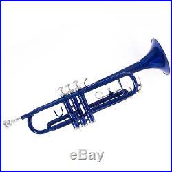 Mendini Bb Trumpet Blue Lacquered Student Band +Tuner+Case+CareKit MTT-BL