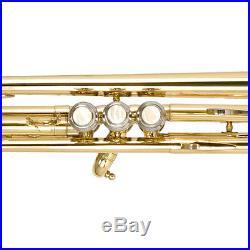 Mendini Bb Trumpet Gold Lacquered Student Band +Tuner+Case+CareKit MTT-L