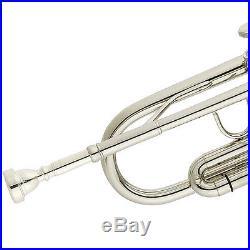 Mendini Bb Trumpet Silver Nickel Plated Student Band +Tuner+Case+CareKit MTT-N