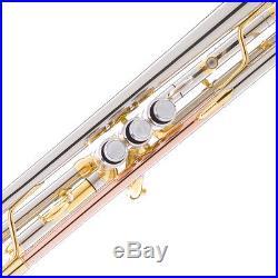 Mendini Bb Trumpet Silver & Rose Brass Monel Valves Piston +Tuner+Case MTT-30CN