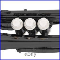Mendini Black Lacquer Mini / Pocket Trumpet +Tuner+Stand+Case