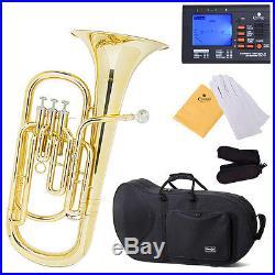Mendini Brass Baritone Horn, B-flat, 3-Stainless Valve