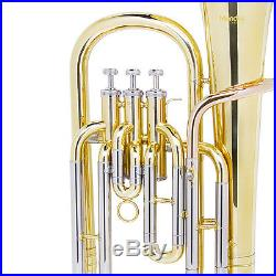 Mendini Brass Baritone Horn, Bb, 3-Monel Valve, 9 Bell
