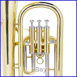 Mendini Brass Bb Baritone Horn 3-Monel Valve, 9 Bell
