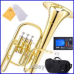 Mendini MAH-L Eb Alto Horn Gold Lacquered +Tuner+Case