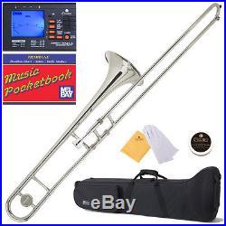 Mendini Nickel Plated Bb Slide Trombone +Tuner+Case MTB-N