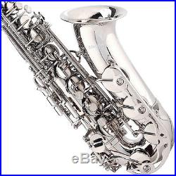 Mendini Nickel Plated Silver Alto Saxophone Sax +Tuner+CareKit+Case+Book MAS-N
