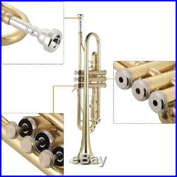 NEW BRASS STUDENT SCHOOL BAND Bb TRUMPET WithCASE+WARRANTY Xmas Gift USA Deliver