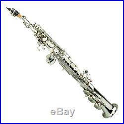 NEW B Flat Silver / Nickel Soprano Saxophone, Case Student Orchestra Band