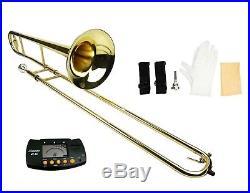 NEW Brass Gold Trombone, Zippered Hard Case, Free Tuner Student Intermediate