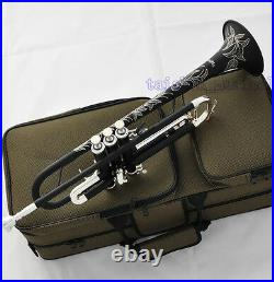 NEW Matt Black Silver Trumpet Bb Horn With Monel Valve Full Hand Engraving Bell