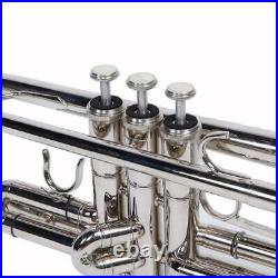 New B Flat Silver Bb Trumpet for Concert Band with Case