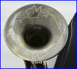 Newest Antique Piccolo Mini French Horn B-flat Pocket horn Engraving Bell Withcase