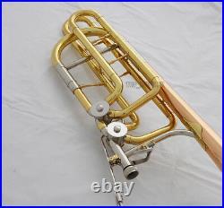 Professional 2 Rotor Bass Trombone Horn Bb/F/Eb&Bb/F/D/Gb Key Rose Brass Bell