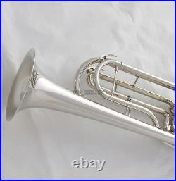 Professional New Rotary Valves Bass Trumpet Bb Silver nickel horn With case