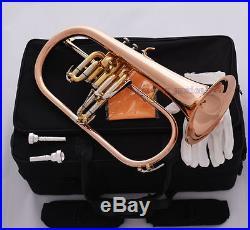 Professional Rose Brass Bb Flugelhorn Monel Valve New Flugel Horn 2Pc Mouthpiece