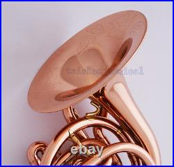 Professional Rose Brass Bb Mini French Horn Hand Engraving Bell With Case