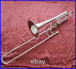 Professional Silver Bass Trombone Double Rotor Horn Bb/F/Eb&Bb/F/D/Gb Key WithCase