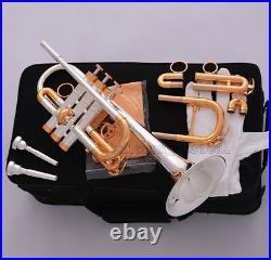 Professional Silver Gold Plated Eb/D Trumpet Horn Monel Valve 7C + 5C Mouthpiece