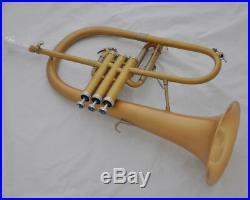 Professionl new Flugelhorn matt gold Flugel Horn Monel Valve Bb key with Case