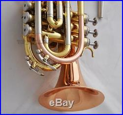 Rose Brass Pocket Trumpet Horn B-Flat 4.842'' Large Bell 2 Mouthpiece With Case
