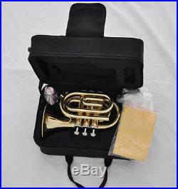 Sale! TOP Gold Lacquer Pocket Trumpet B-Flat Large bell horn with case